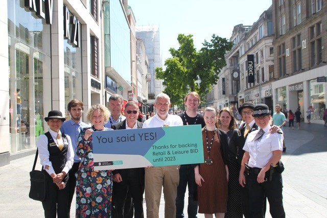 Bill Addy (centre) with Liverpool BID Company team celebrating Retail & Leisure BID ballot win
