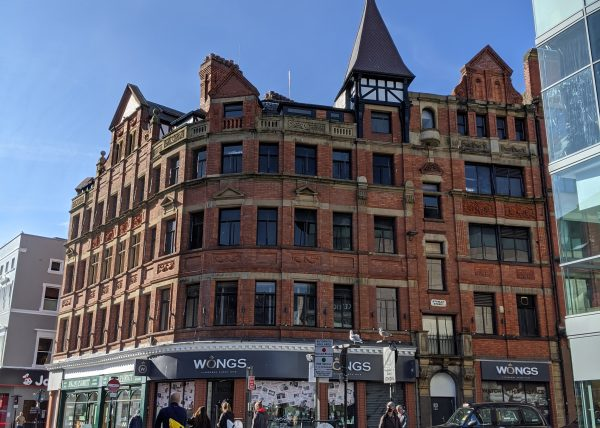 An exterior shot showing the Chicago Buildings on Whitechapel, Liverpool