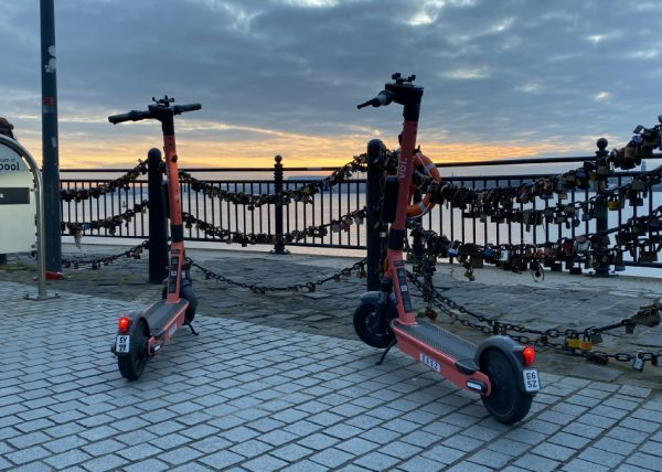 Electric scooters on Liverpool's waterfront