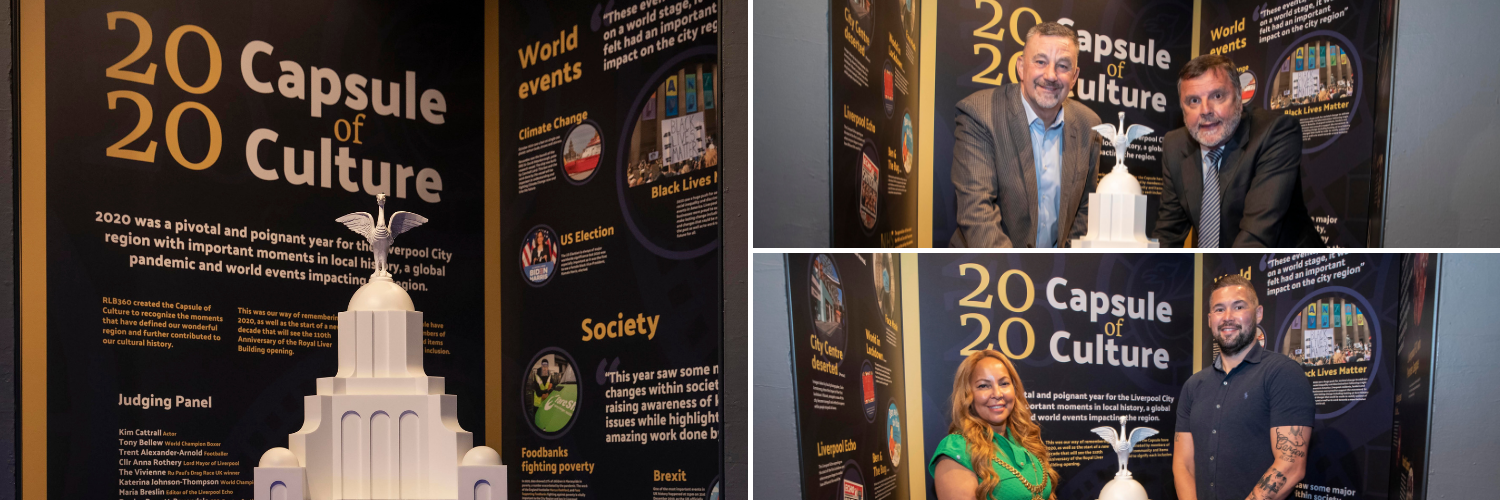 A collage of the 2020 time capsule launch featuring Anna Rothery, Lord Mayor of Liverpool, and Tony Bellew, Retired Boxer.
